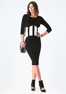bebe 3/4 Sleeve Patchwork Midi Dress