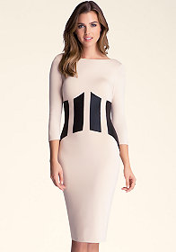 bebe 3/4 Sleeve Patchwork Midi Dress