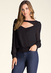 bebe Open Neck Blouse