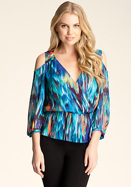 bebe Pleated Peplum Surplice Top