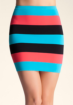 bebe Color Stripe Skirt