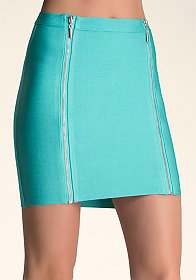 CONTRAST ZIPPER SKIRT at bebe