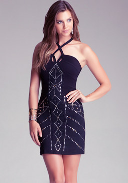 Geometric Studded Dress at bebe