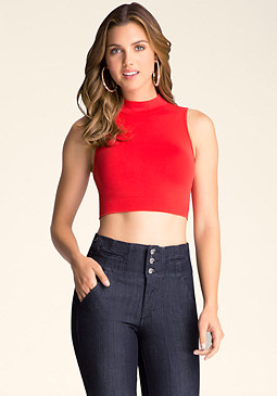 Mockneck Crop Top at bebe