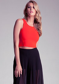 bebe Zipper Racer Crop Top