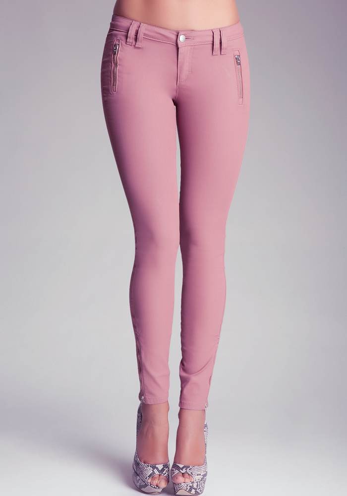 Coated Zipper Skinny Jeans