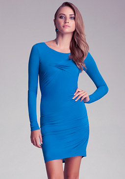 bebe Long Sleeve Shirred Jersey Dress