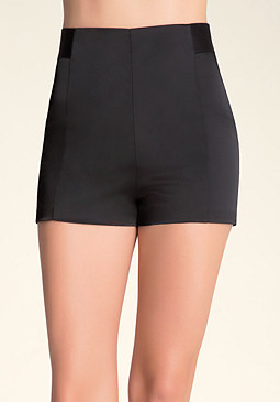High Waist Zip Mini Shorts at bebe