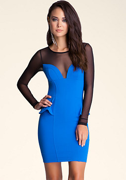 Mesh Yoke Peplum Dress at 2b
