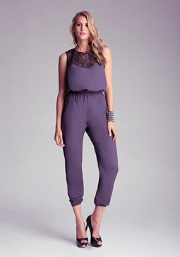 Petite Lace Yoke Jumpsuit at bebe