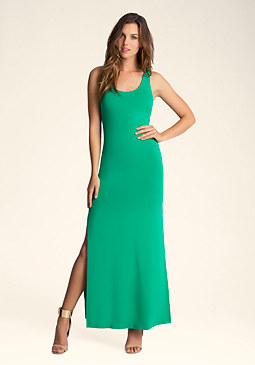 bebe Double Slit Maxi Dress