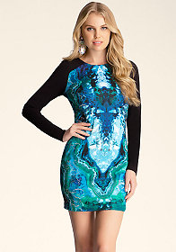 bebe Printed Bodycon Dress