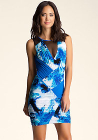 bebe Shirred Print Mesh Dress