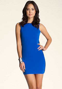bebe Open Back Flap Mini Dress