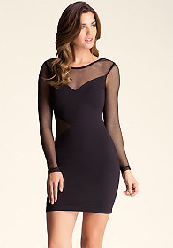 bebe Mesh Sleeve Dress