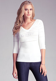 3/4 Stripe Double V Neck Top at bebe