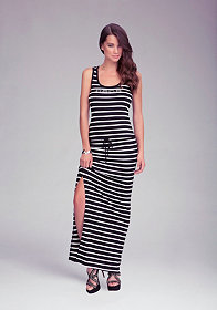 bebe Logo Stripe Racerback Dress