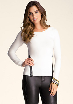 bebe Contrast Zipper Sweater