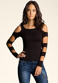 High Low Cutout Sleeve Top at bebe