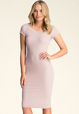Logo V Neck Midi Dress at bebe