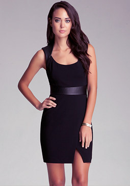 bebe Leather Shoulder Dress