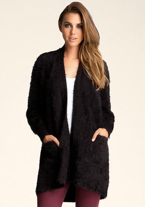 Fuzzy Sweater Cardigan   bebe