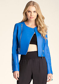 Zip Sleeve Leather Jacket at bebe