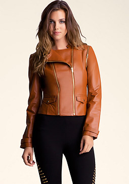bebe 2 Way Zip Leather Jacket