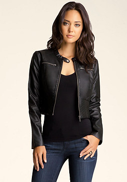 Zip Up Leatherette Jacket at bebe
