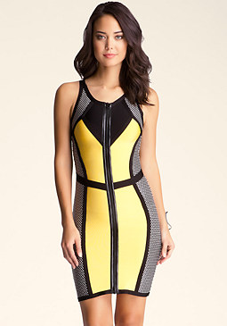 bebe Zip Front Colorblock Dress