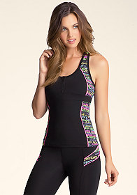 bebe Printed 1/2 Zipper Colorblock