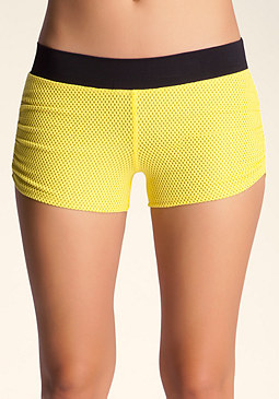 bebe Mesh Ruched Boy Shorts