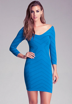 Double V Neck Chevron Dress at bebe