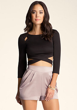 bebe Long Sleeve Crop Top����������
