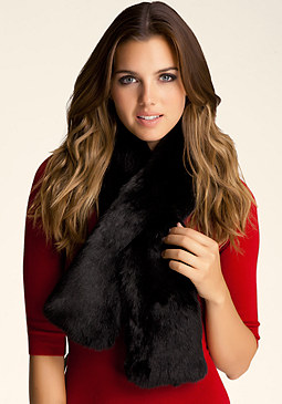bebe Faux Fur Pull Through Scarf