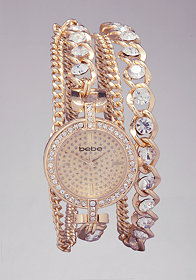 bebe Crystal Chain Wrap Watch