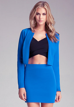 bebe Cropped Collarless Jacket