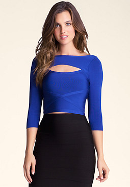 bebe Front Keyhole Cross Top