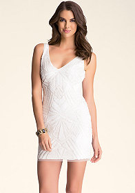 bebe Embellished V Neck Dress