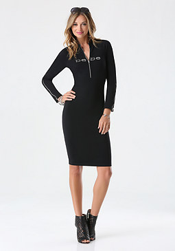 bebe Mock Neck Zip Dress
