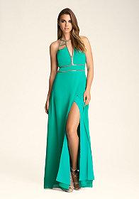 bebe Halter Neck Chain Detail Dress