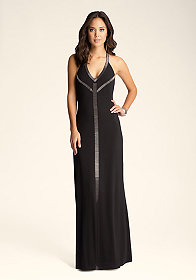 bebe Iman Beaded Halter Dress