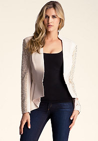 bebe Spike Sleeve Leather Jacket