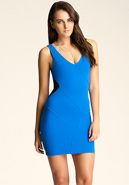 bebe V Neck Mesh Inset Dress