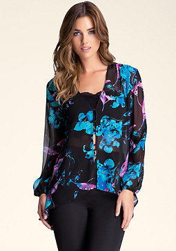 bebe Shirred Back Shirt