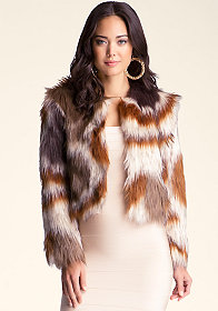 bebe Multi Colored Faux Fur Coat