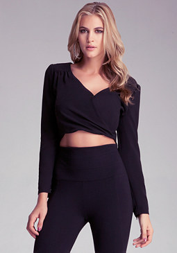 bebe Cropped Long Sleeve Surplice
