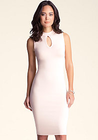 bebe Sleeveless Keyhole Midi Dress