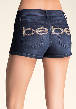 bebe Side Slit Logo Shorts