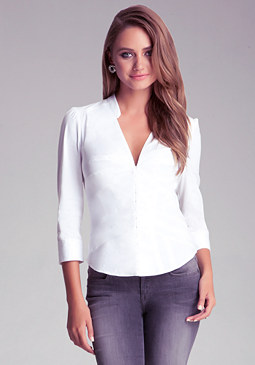 Poplin Bustier Detail Shirt at bebe